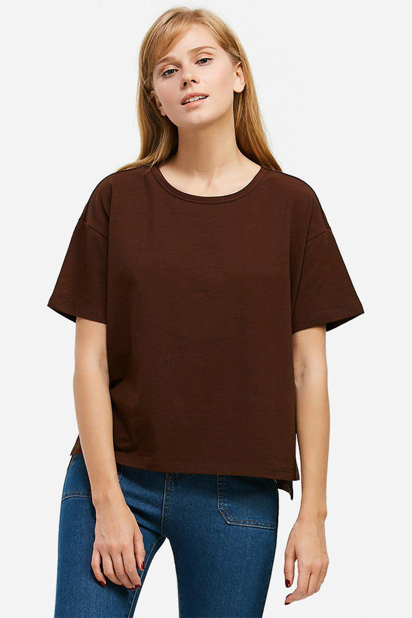ZAN.STYLE Box Cut Side Slit T-shirt - COFFEE S