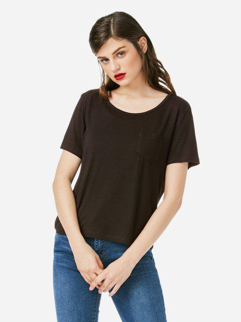 ZAN.STYLE Pocket T-shirt - COFFEE XL