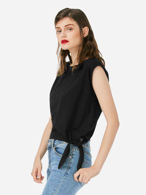 ZAN.STYLE Sleeveless Side Knotted Top - BLACK S