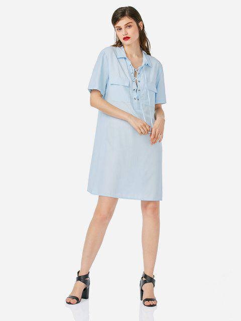 Lace Up Front Dress - SKY BLUE M