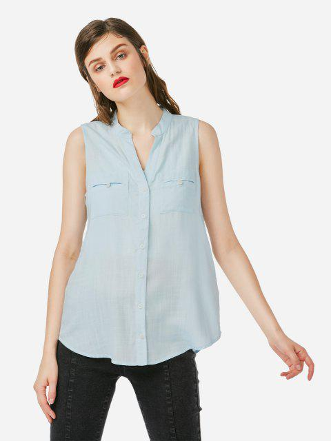 V-neck Sleeveless Blouse - LIGHT BLUE S
