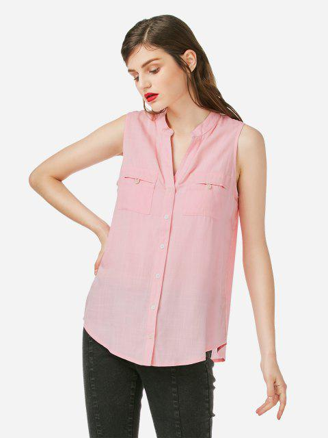 V-neck Sleeveless Blouse - LIGHT PINK XL