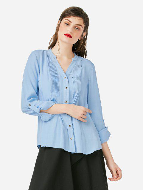 Pleated Front Blouse - BLUE XL