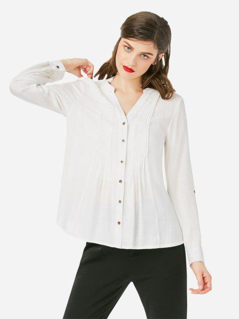 Pleated Front Blouse - WHITE L