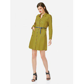 Collar Shirt Dress - MUSTARD S