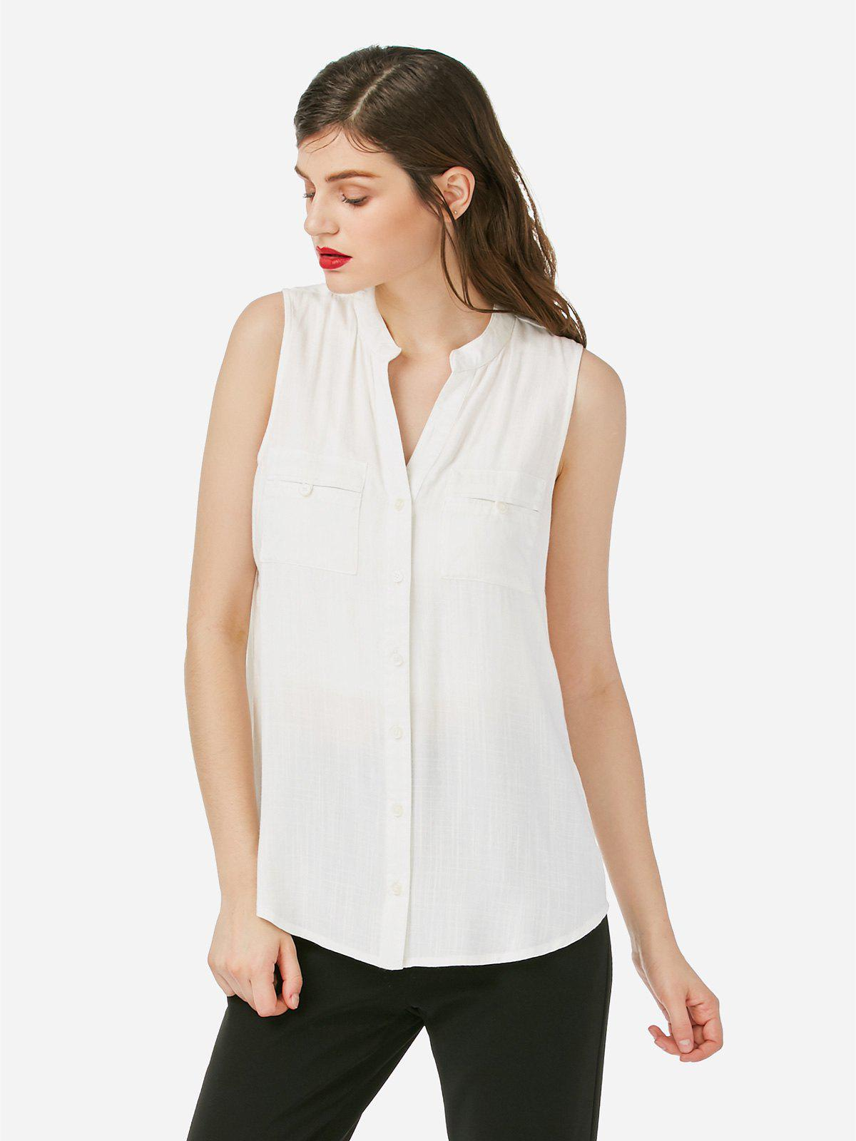 ZAN.STYLE Sleeveless Blouse - WHITE M