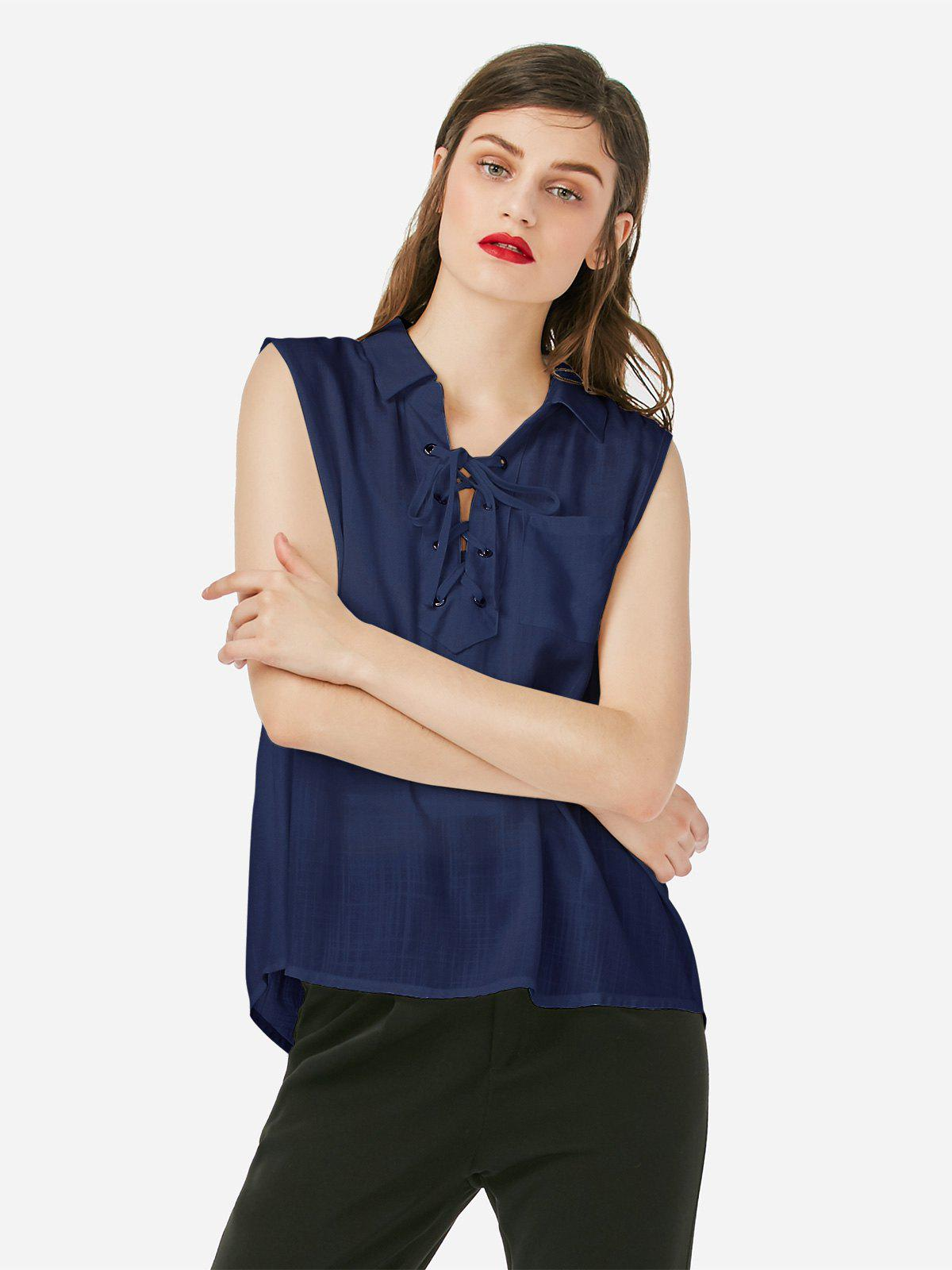 ZAN.STYLE Criss-cross Sleeveless Blouse - PURPLISH BLUE M