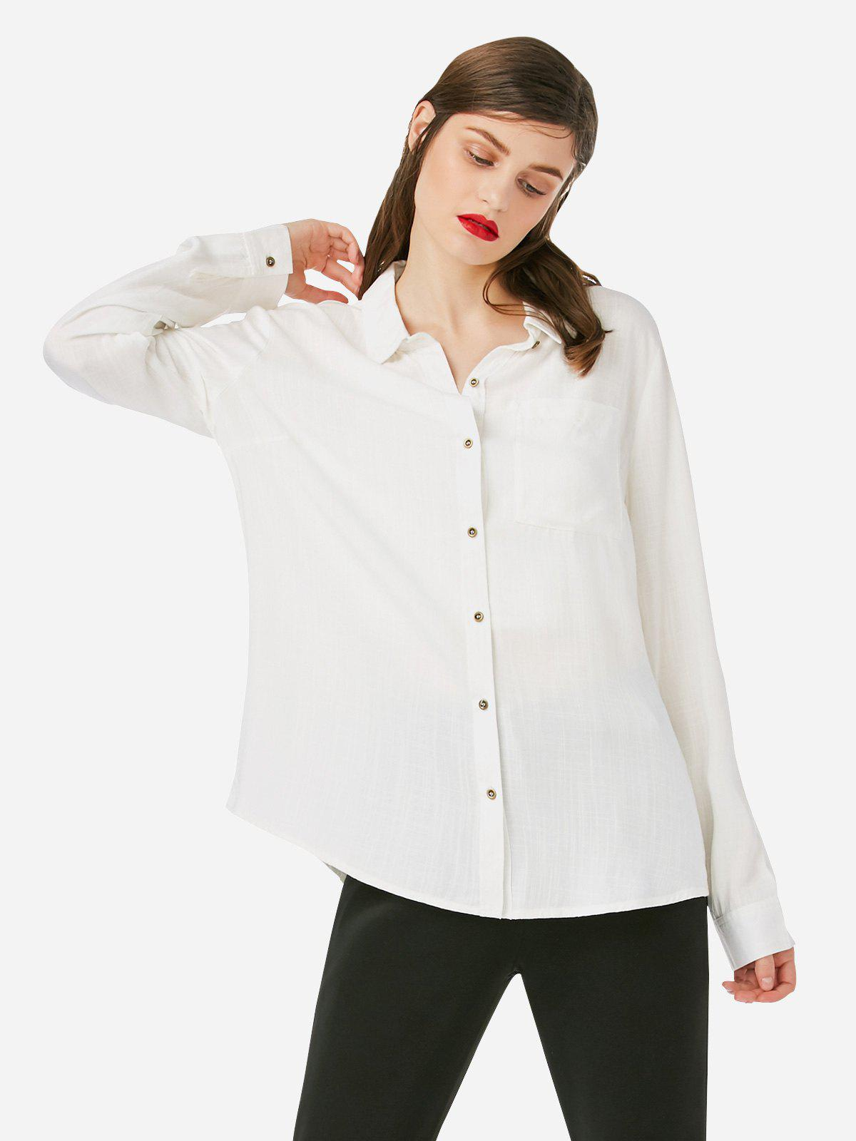 ZAN.STYLE Stand Up Collar Blouse - WHITE M