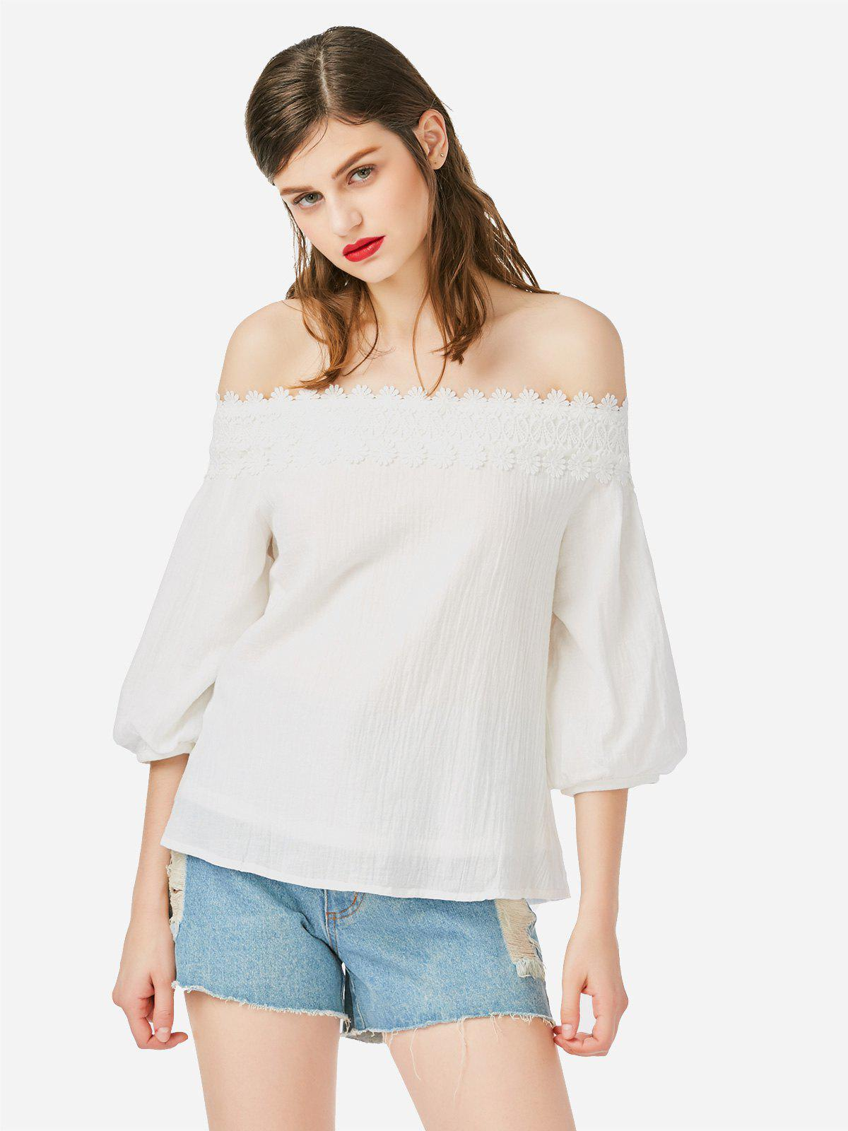 ZAN.STYLE Off Shoulder Lace Blouse - WHITE M