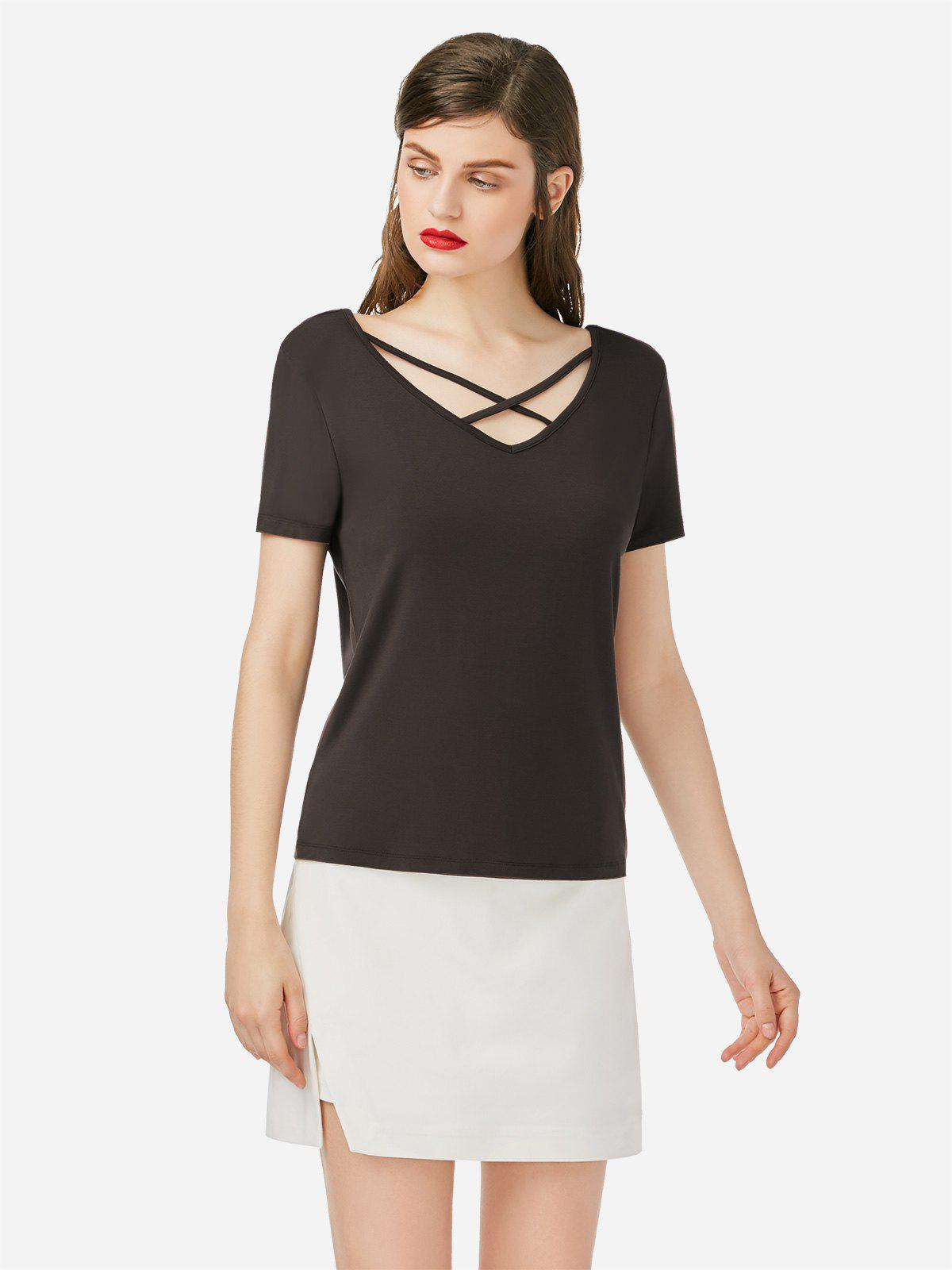 Lace Up V Neck T-shirt - COFFEE S
