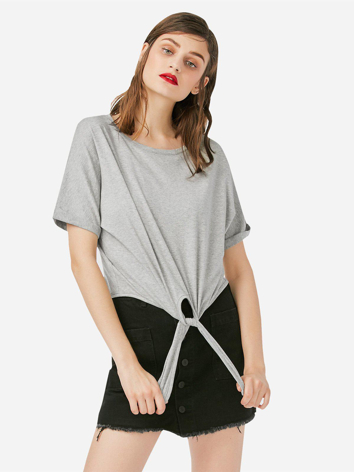 ZAN.STYLE Crew Neck Knotted T-shirt - GRAY XL