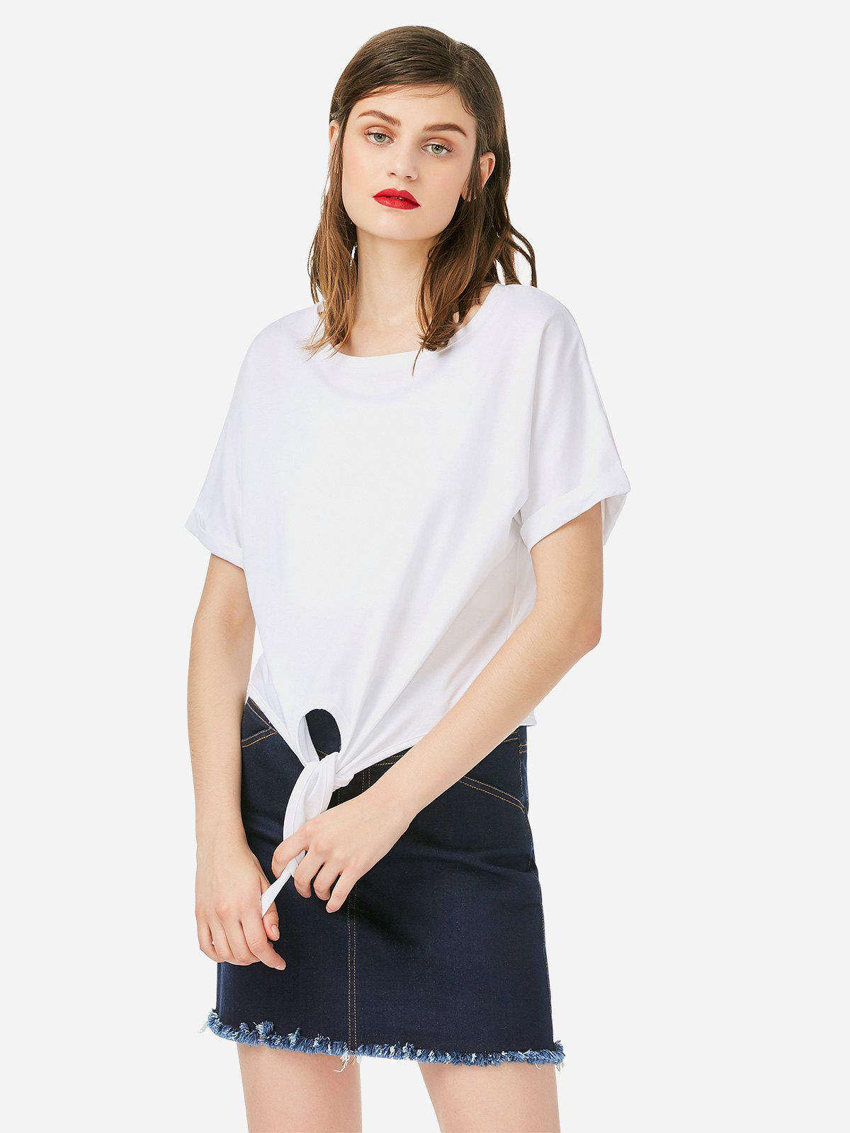 ZAN.STYLE Crew Neck Knotted T-shirt