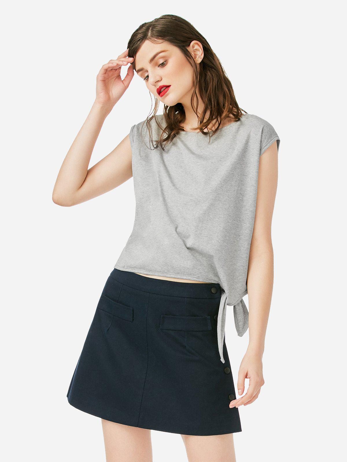 ZAN.STYLE Sleeveless Side Knotted Top - GRAY M