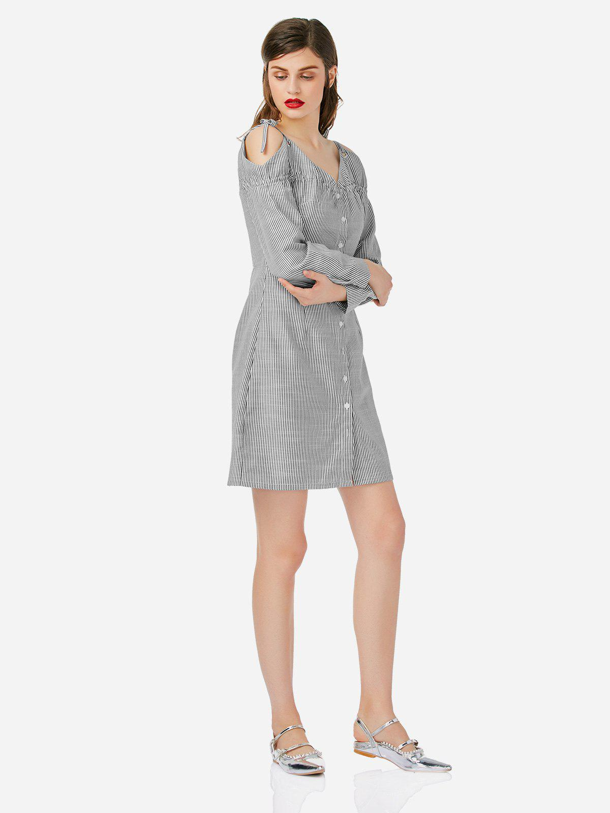 ZAN.STYLE Off Shoulder Shirt Dress - GRAY/WHITE S