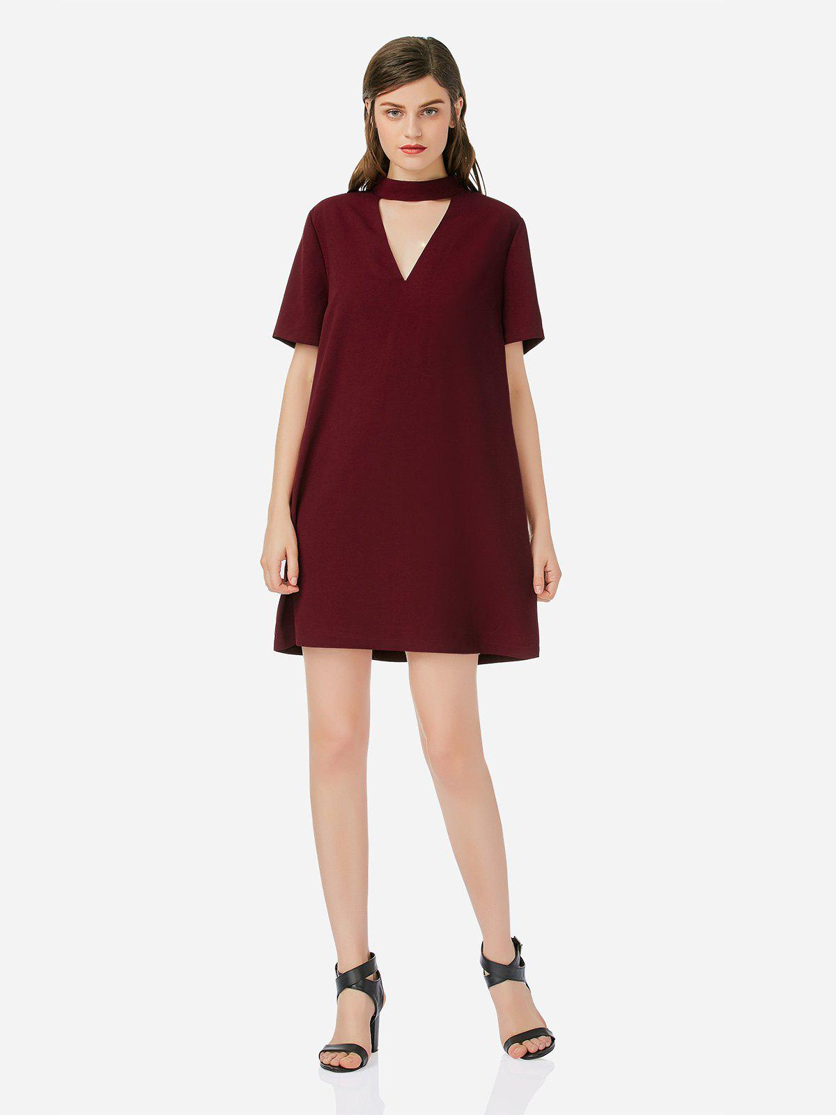 Choker Neck Shirt Dress