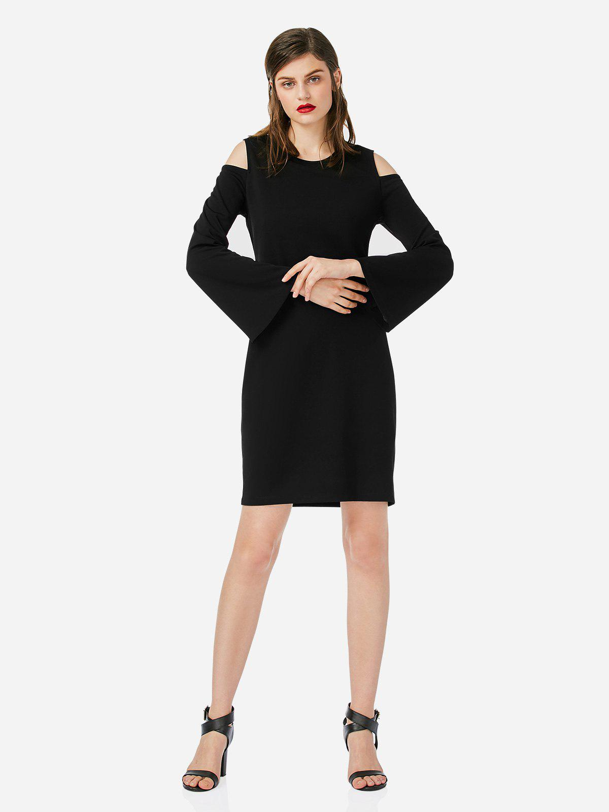 ZAN.STYLE Open Shoulder Slim Dress - BLACK M