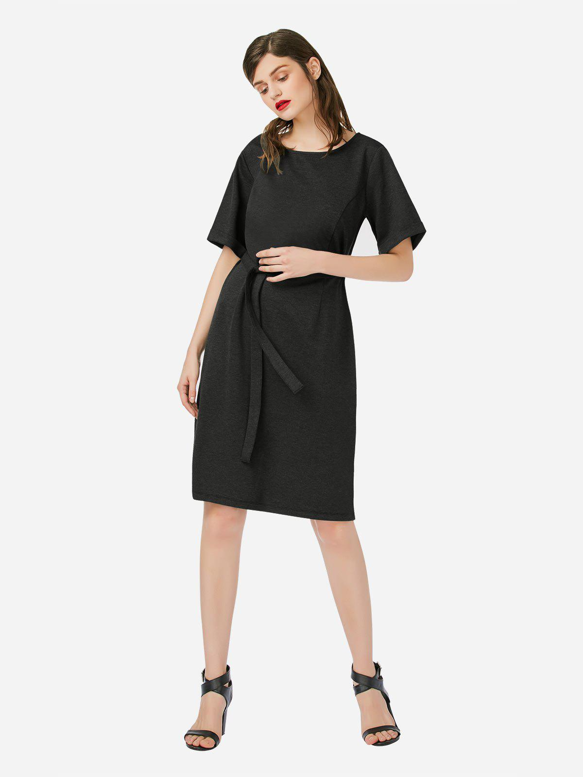ZAN.STYLE Crew Neck Dress - HEATHER BLACK M