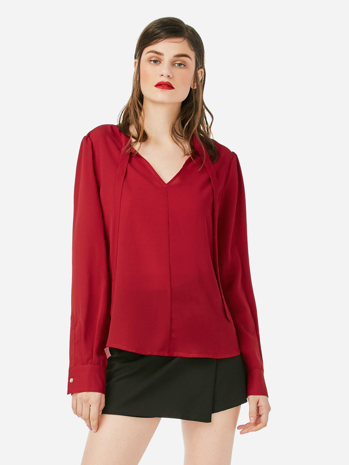 ZAN.STYLE Tie Neck Blouse - WINE RED S