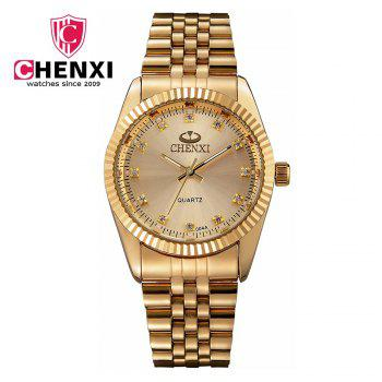 Chenxi 004A Japan Quartz Watch Stainless Steel Strap Water Resistant Diamond Scale for Men - GOLDEN GOLDEN