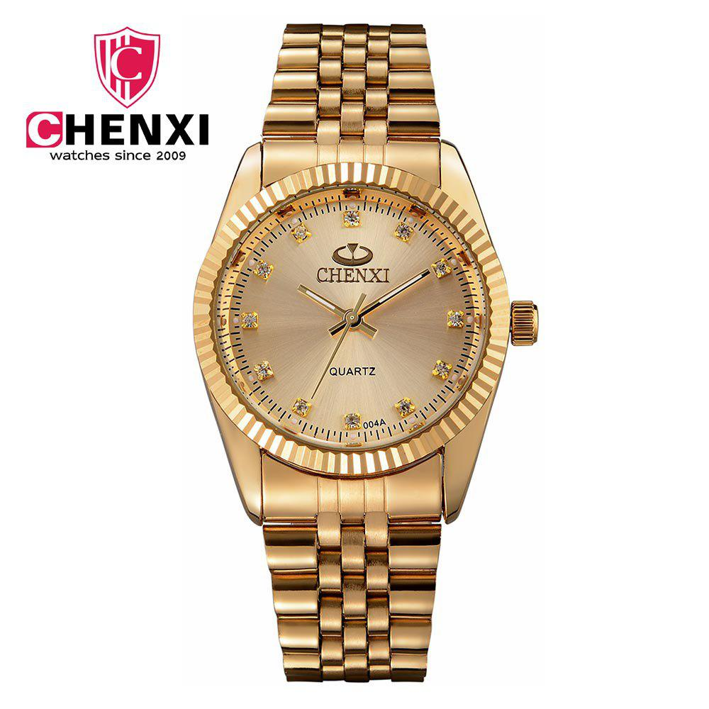 Chenxi 004A Japan Quartz Watch Stainless Steel Strap Water Resistant Diamond Scale for Men - GOLDEN