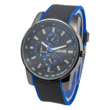 Fashionable Quartz Wrist Watch with Analog Display Rubber Watchband for Men - BLUE BLUE