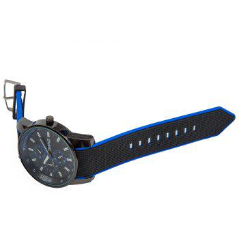 Fashionable Quartz Wrist Watch with Analog Display Rubber Watchband for Men - BLUE