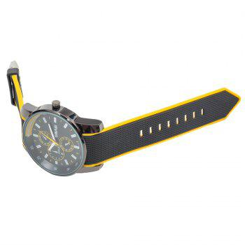 Fashionable Quartz Wrist Watch with Analog Display Rubber Watchband for Men - YELLOW