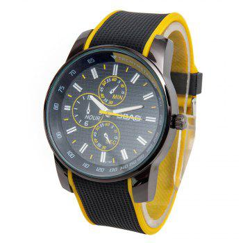 Fashionable Quartz Wrist Watch with Analog Display Rubber Watchband for Men - YELLOW YELLOW