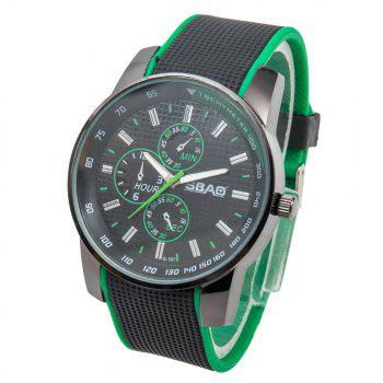 Fashionable Quartz Wrist Watch with Analog Display Rubber Watchband for Men - GREEN GREEN