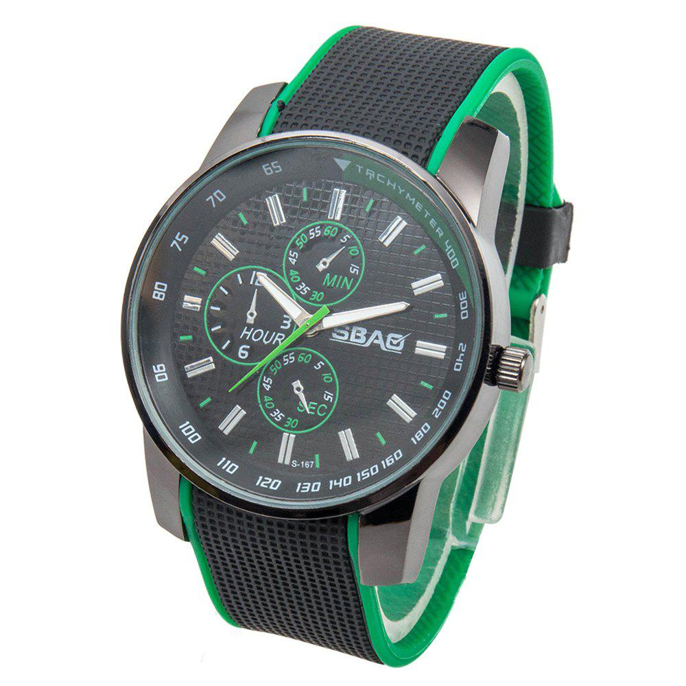 Fashionable Quartz Wrist Watch with Analog Display Rubber Watchband for Men - GREEN