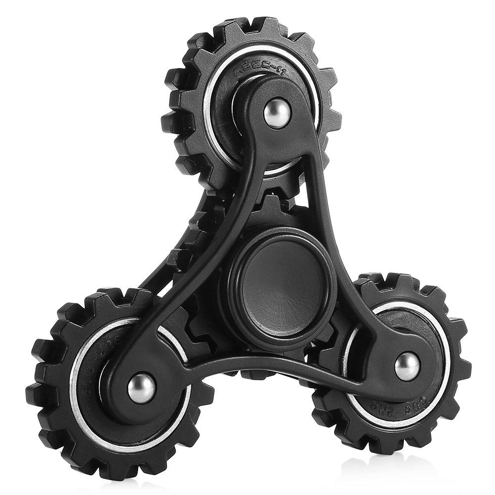 Four Gear Linkage Fidget Spinner Zinc Alloy Stress Relief Toy Relaxation Gift for Adults - BLACK