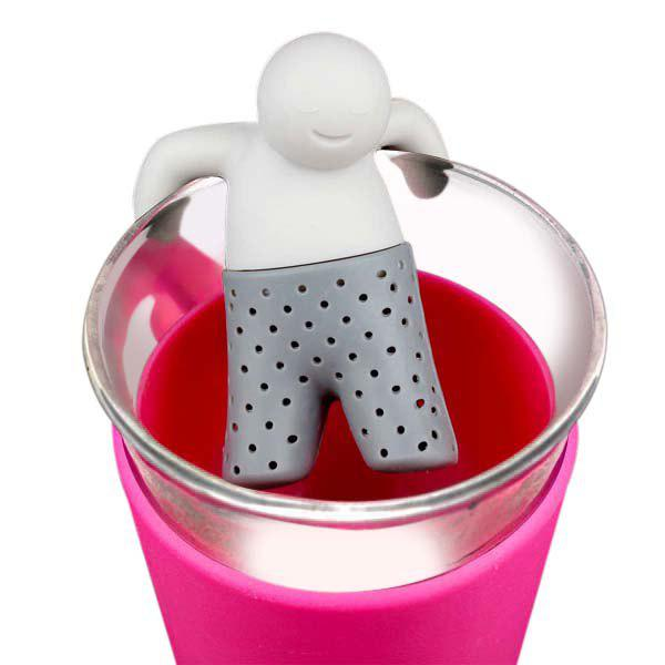 Creative Bathing Kids Shape Tea Strainer Filter Silicone Teabags Household Gadget - GRAY