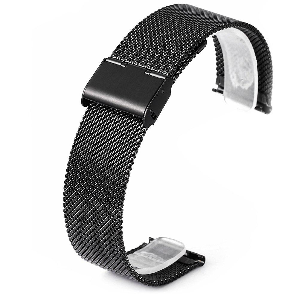 22mm Stainless Steel Mesh Wristband for Huami Amazfit - BLACK