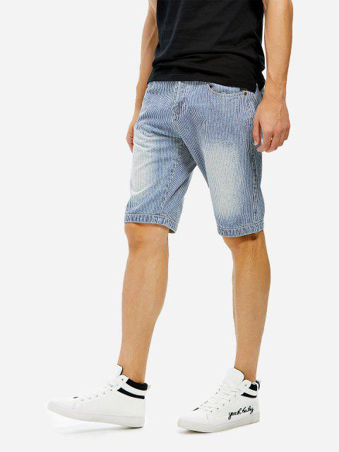 ZAN.STYLE Knee Length Contrast Denim Shorts - BLUE STRIPED 42