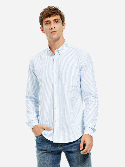 Cotton Oxford Dress Shirt - BLUE WHITE STRIPED M