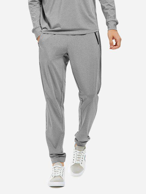 Men Joggers Sweatpants with Zip Pocket - HEATHER GRAY XL
