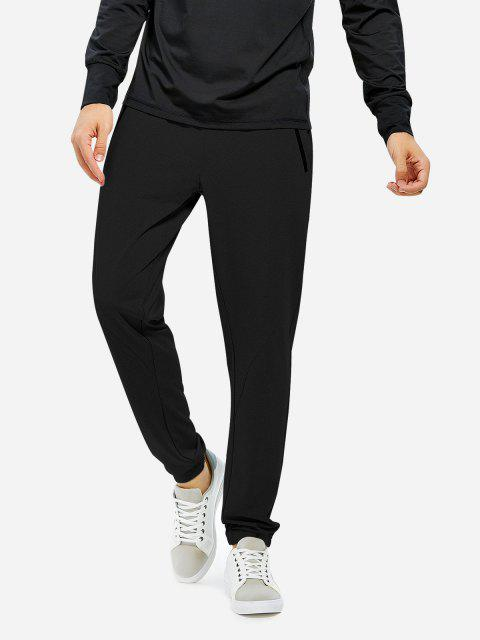 Men Joggers Sweatpants with Zip Pocket - BLACK M