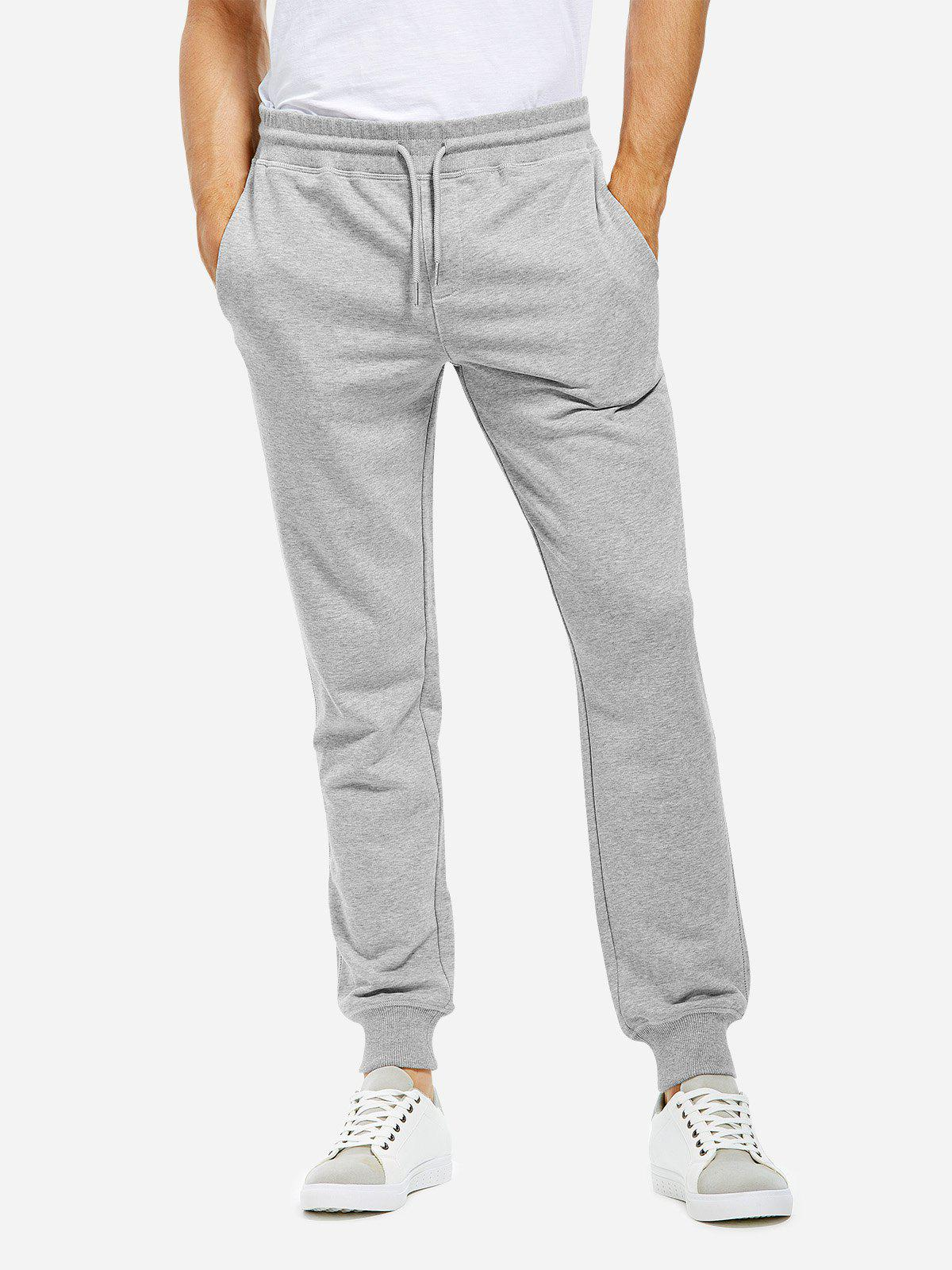 Cotton Sweatpants - HEATHER GRAY L