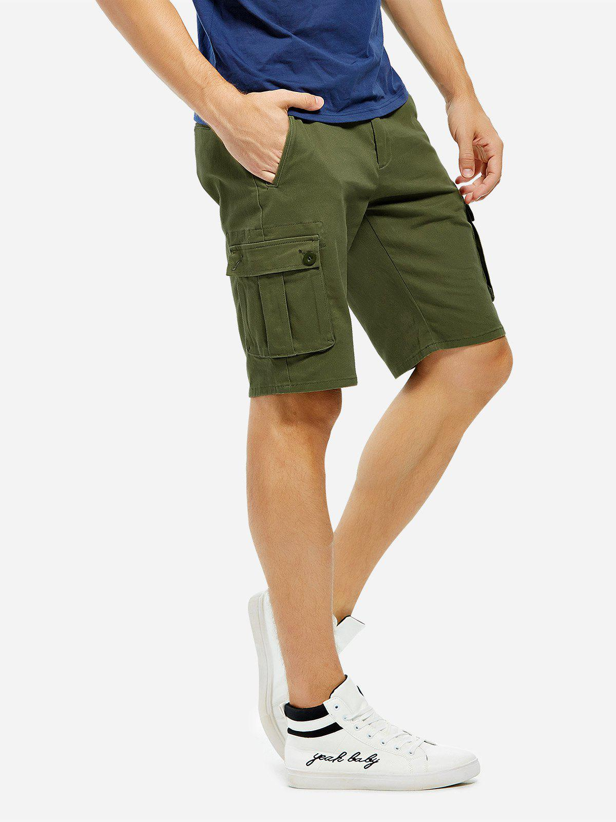 Knee Length Cargo Shorts - ARMY GREEN 36