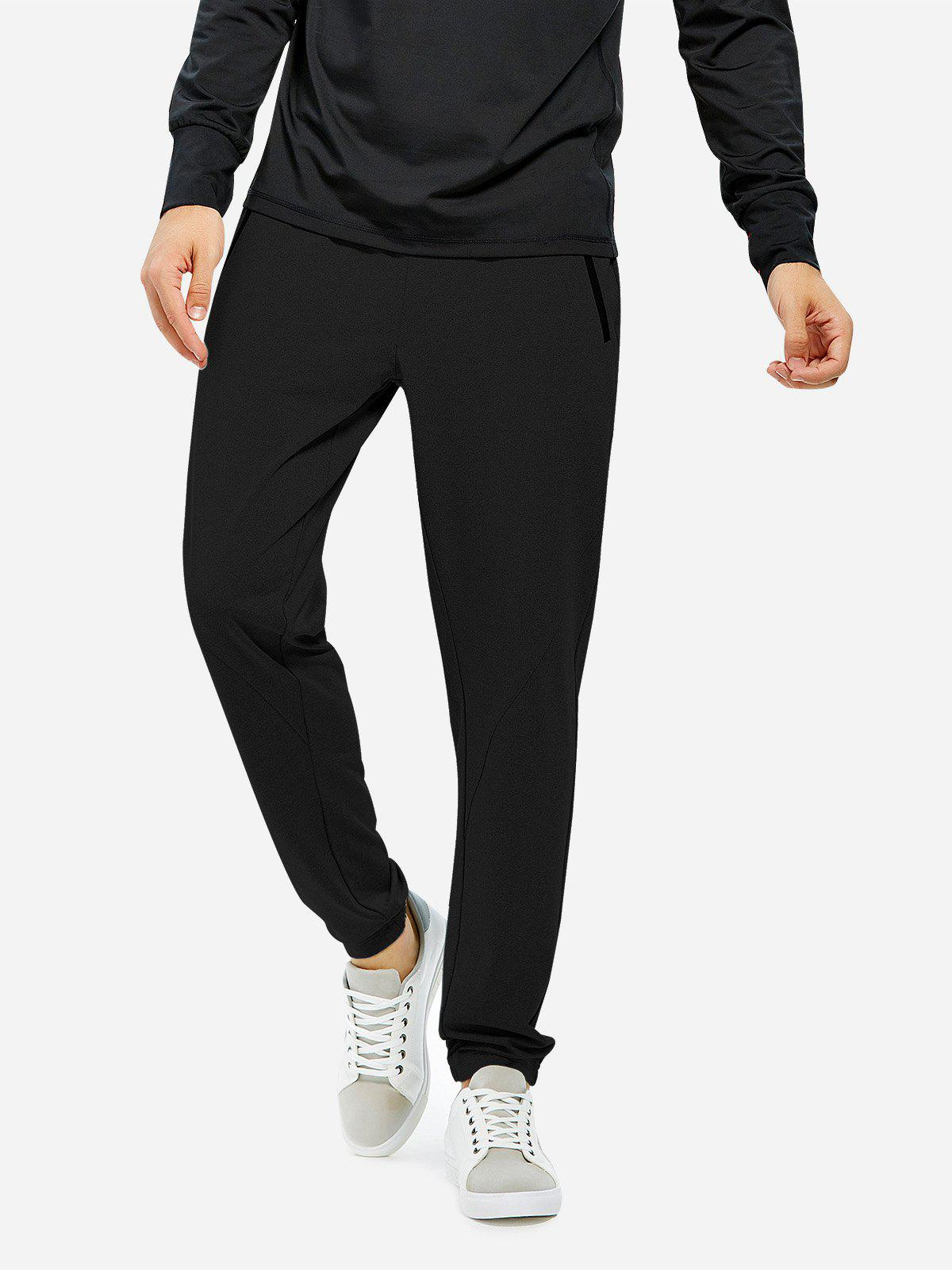 ZAN.STYLE Men Joggers Sweatpants with Zip Pocket - BLACK 2XL