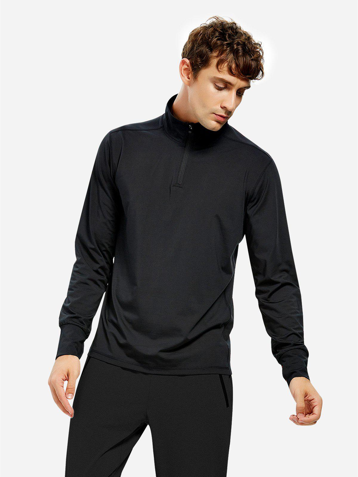 ZAN.STYLE Men Half Zip Long Sleeve Sweatshirt - BLACK M