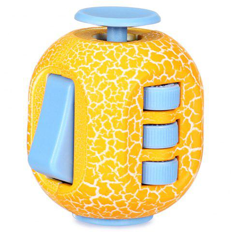 Crack Fidget Cube Style Stress Reliever Pressure Reducing Toy for Office Worker - YELLOW
