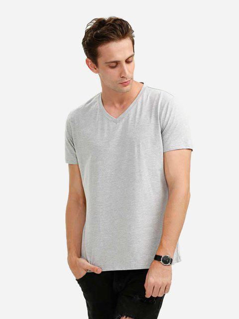 V-neck Tee - LIGHT GRAY XL