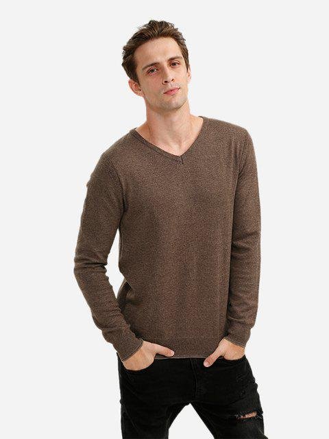 ZAN.STYLE V-neck Cotton Blend Knitwear - COFFEE XL