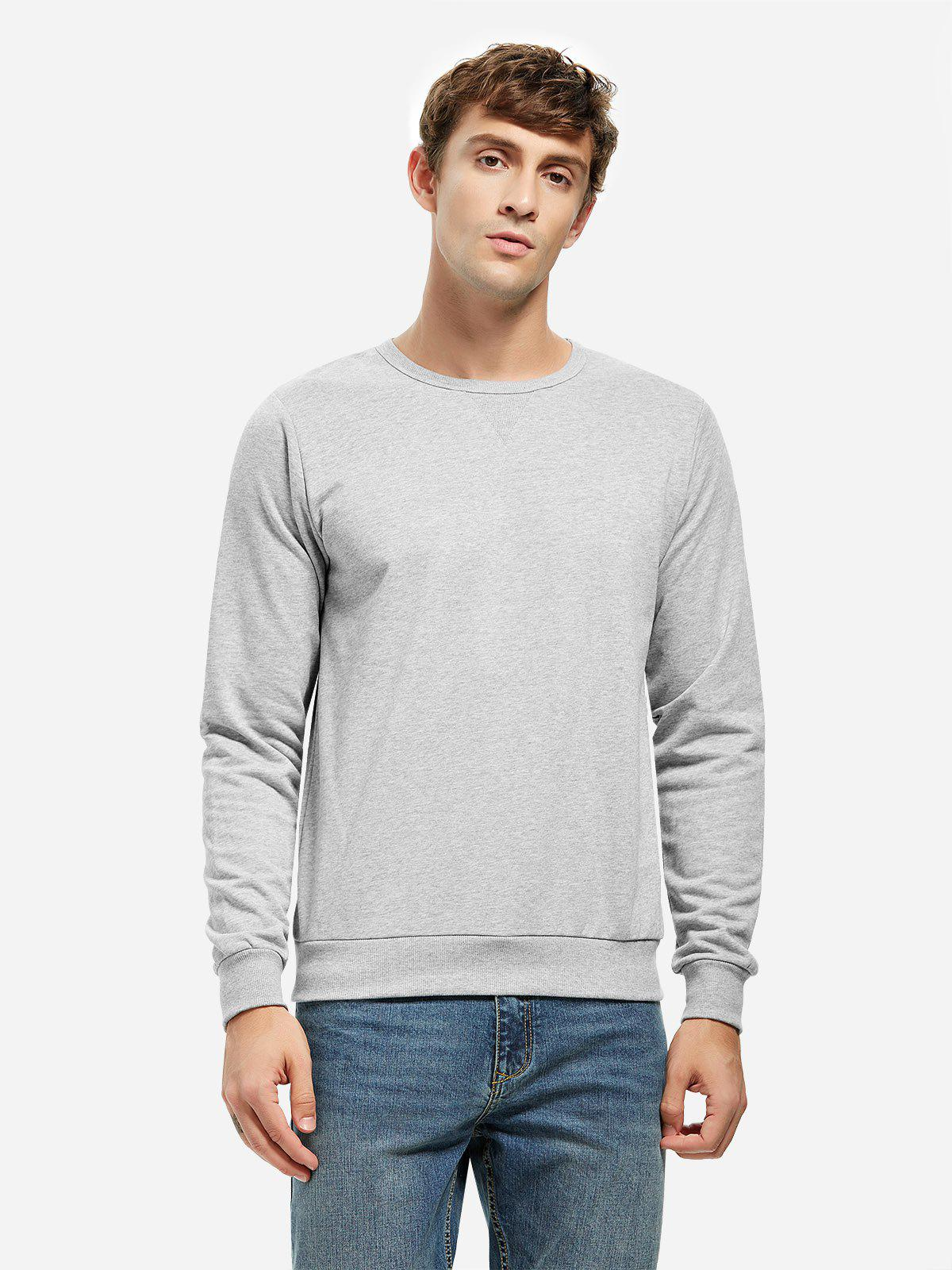 ZAN.STYLE Crew Neck Sweatshirt - LIGHT GRAY XL