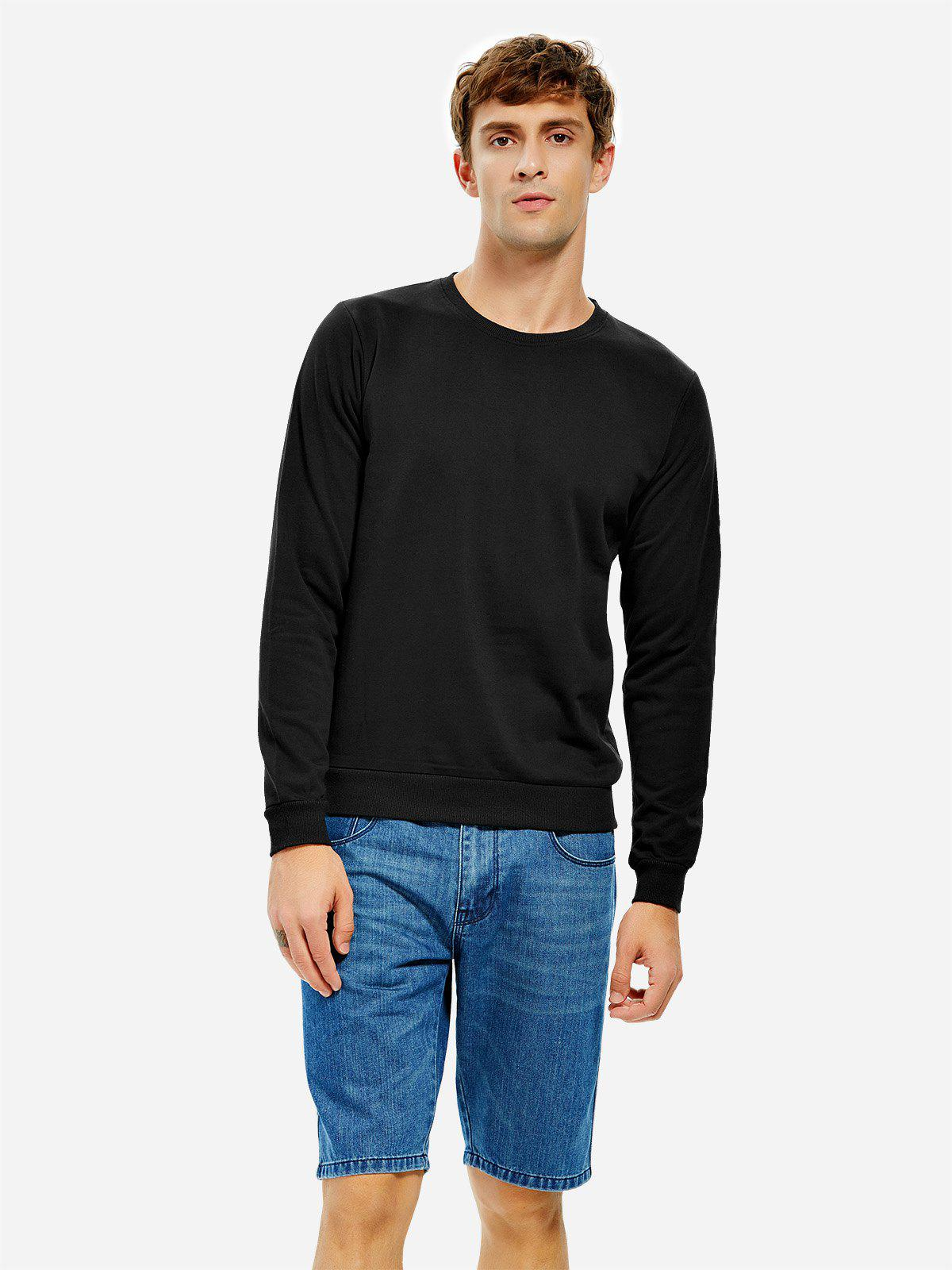ZAN.STYLE Round Neck Sweatshirt - BLACK 2XL