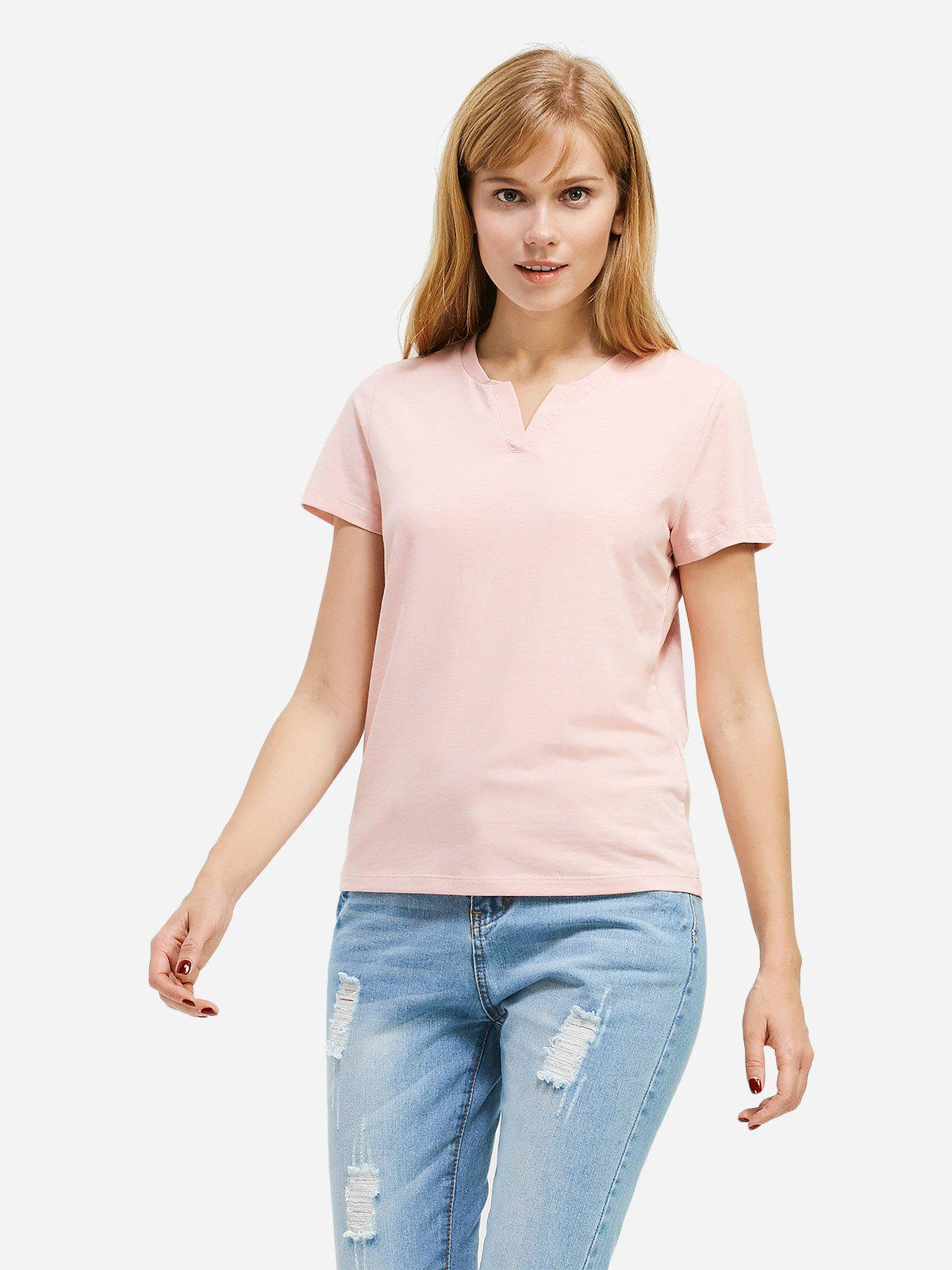 ZAN.STYLE Split Neck T-shirt - PINK 2XL