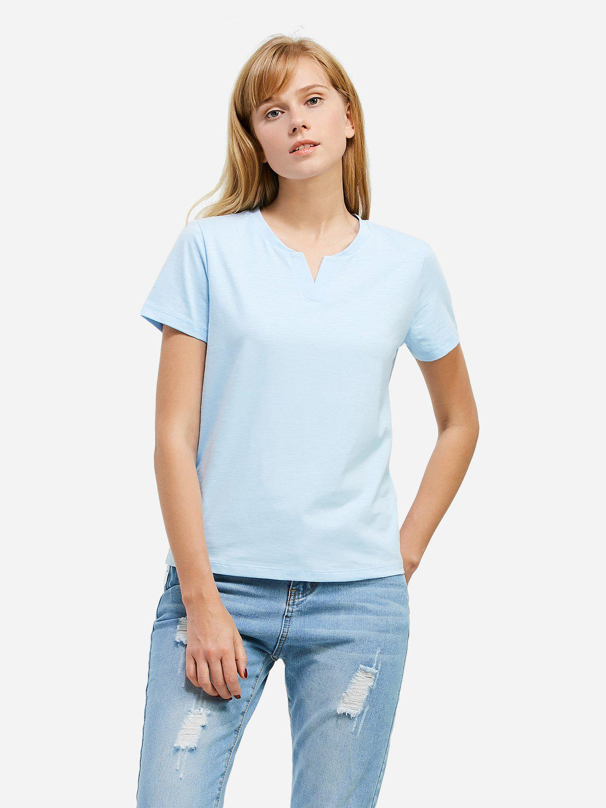 ZAN.STYLE Split Neck T-shirt - LIGHT BLUE L