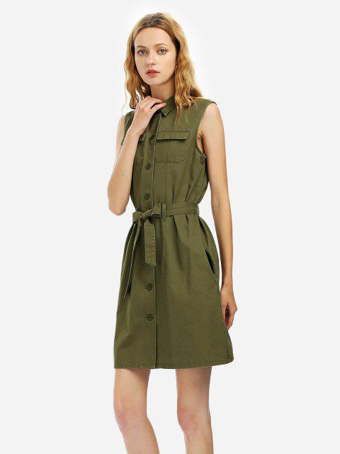 ZAN.STYLE Belted Waist Sleeveless Shirt Dress