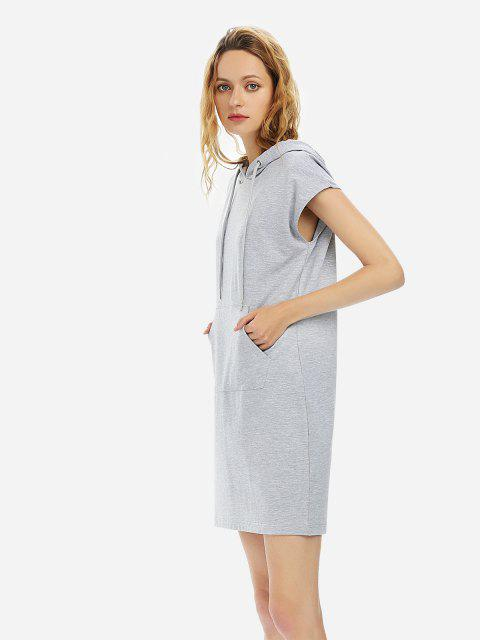 ZAN.STYLE Sleeveless Drawstring Dress Hoodie - HEATHER GRAY L